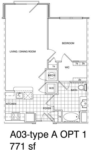Floor Plan  1 Bedroom, 1 Bath 771 SF A3.9