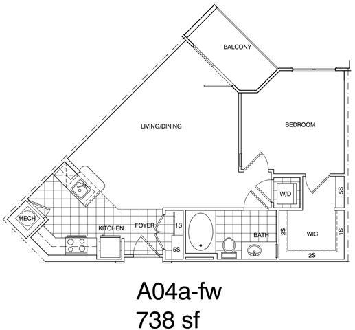 Floor Plan  1 Bedroom, 1 Bath 738 SF A4.1
