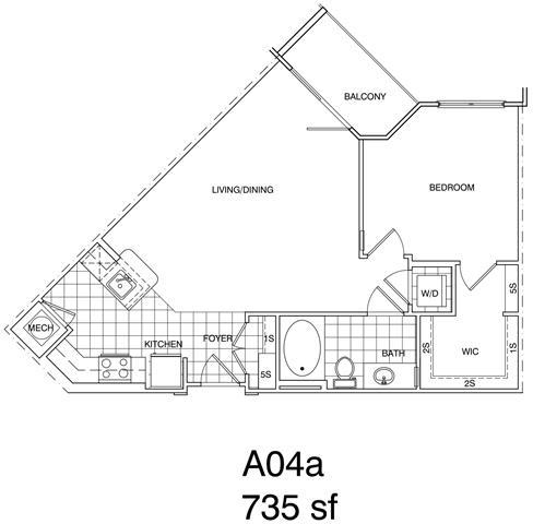 Floor Plan  1 Bedroom, 1 Bath 735 SF A4