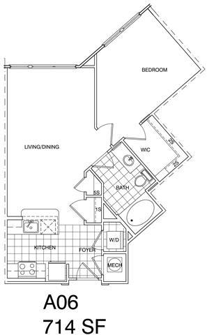Floor Plan  1 Bedroom, 1 Bath 714 SF A6