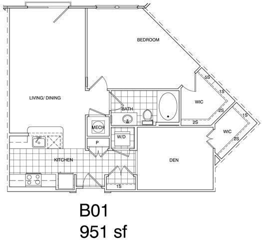 Floor Plan  1 Bedroom + Den, 1 Bath 951 SF B1