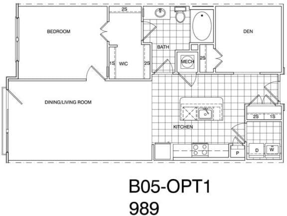 Floor Plan  1 Bedroom+ Den, 1 Bath 988 SF B5.1