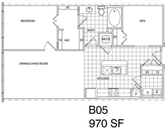 Floor Plan  1 Bedroom + Den, 1 Bath 970 SF B5