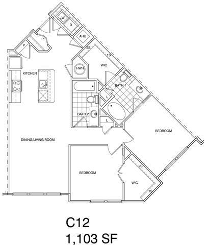 Floor Plan  2 Bedroom, 2 Bath 1101 SF C12