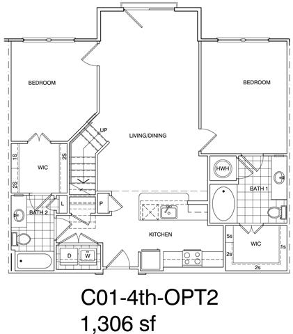 Floor Plan  2 Bedroom + Loft, 2 Bath 1251 SF C1L.5