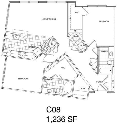 Floor Plan  2 Bedroom, 2 Bath 1236 SF C8