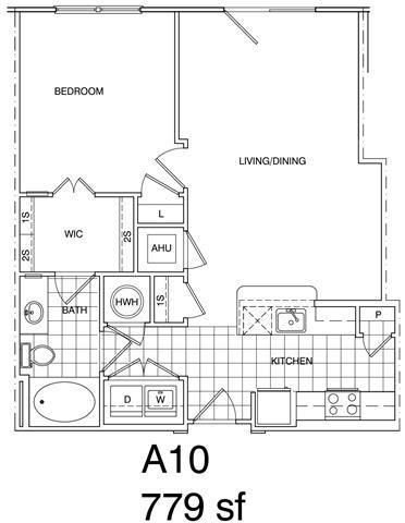 Floor Plan  1 Bedroom, 1 Bath 779 SF KA10