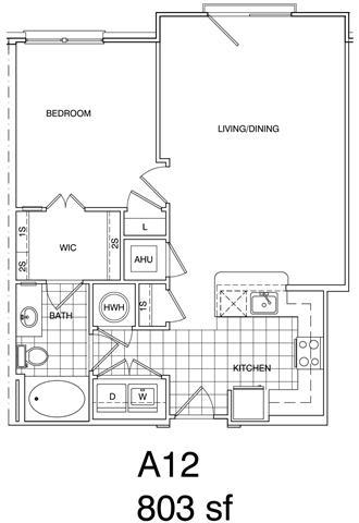 Floor Plan  1 Bedroom, 1 Bath 803 SF KA12