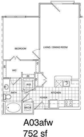 Floor Plan  1 Bedroom, 1 Bath 758 SF KA3.4