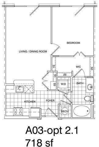 Floor Plan  1 Bedroom, 1 Bath 718 SF KA3A