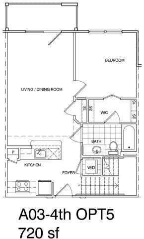 Floor Plan  1 Bedroom + Loft, 1 Bath 720 SF KA3L