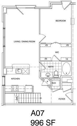 Floor Plan  1 Bedroom + Loft, 1 Bath 996 SF KA7L