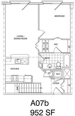 Floor Plan  1 Bedroom + Loft, 1 Bath 952 SF KA7LA
