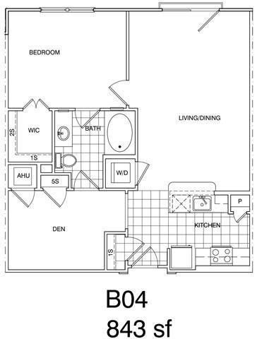 Floor Plan  1 Bedroom + Den, 1 Bath 843 SF KB4
