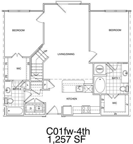Floor Plan  2 Bedroom + Loft, 2 Bath 1257 SF KC1L1