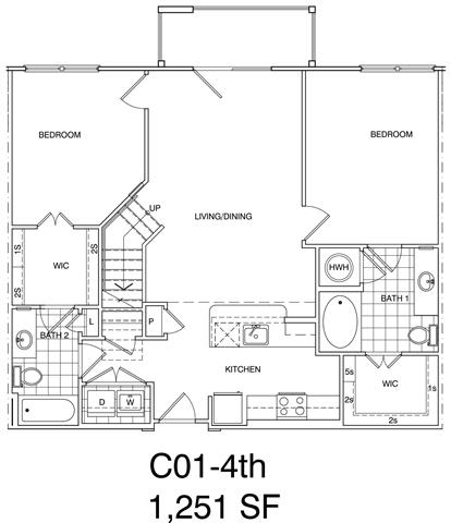 Floor Plan  2 Bedroom + Loft, 2 Bath 1251 SF KC1L