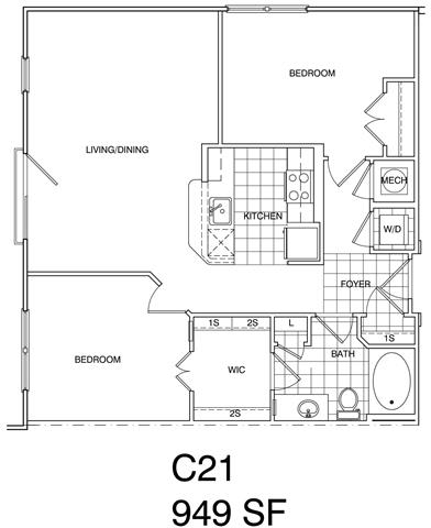 Floor Plan  2 Bedroom, 1 Bath 949 SF KC21