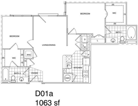Floor Plan  2 Bedroom, 2 Bath 1063 SF KD1.1