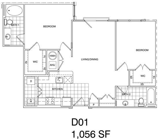 Floor Plan  2 Bedroom, 2 Bath 1056 SF KD1