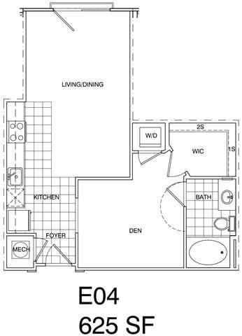 Floor Plan  Studio 625 SF KE4