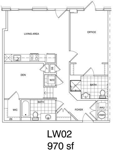 Floor Plan  1 Bedroom + Office, 2 Bath 970 SF KLW2
