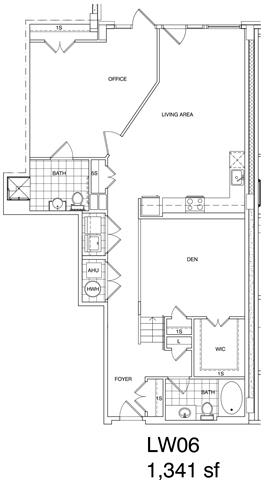 Floor Plan  1 Bedroom + Office, 2 Bath 1341 SF KLW6