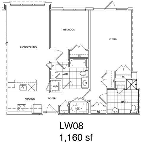 Floor Plan  1 Bedroom + Office, 2 Bath 1160 SF LW8