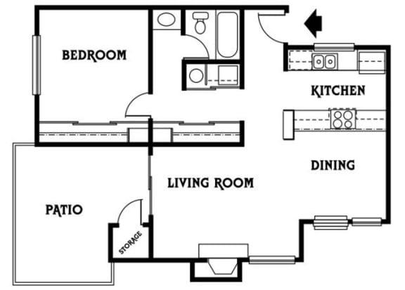 Floor Plan  ResidenceC 1x1 692 sf
