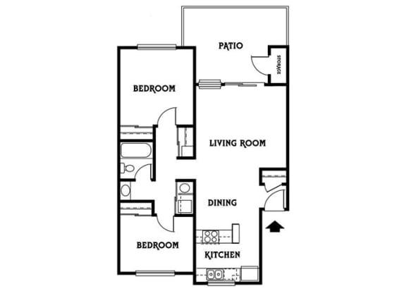 Floor Plan  Residence D 2x1 844 sf