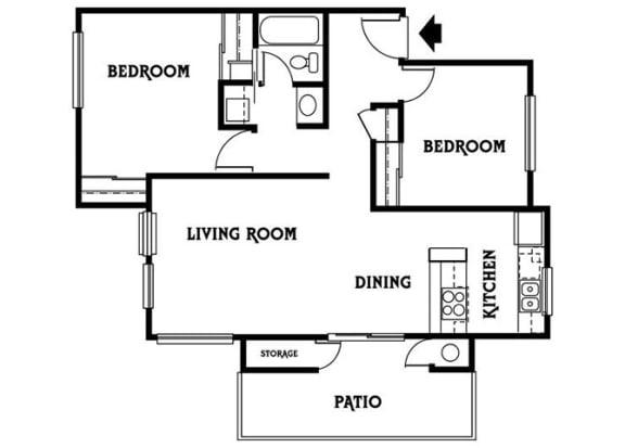 Floor Plan  Residence E 2x1 886 sf