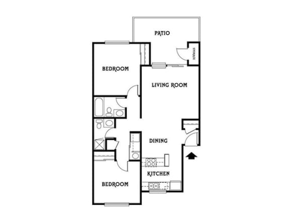 Residence F 2x2 910 sf The Arborrs Apartments Livermore