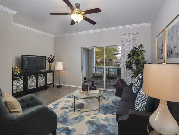 Living Room With Private Balcony at Addison Park, Charlotte, NC