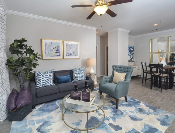 Living Room With Dining View at Addison Park, Charlotte, NC, 28269
