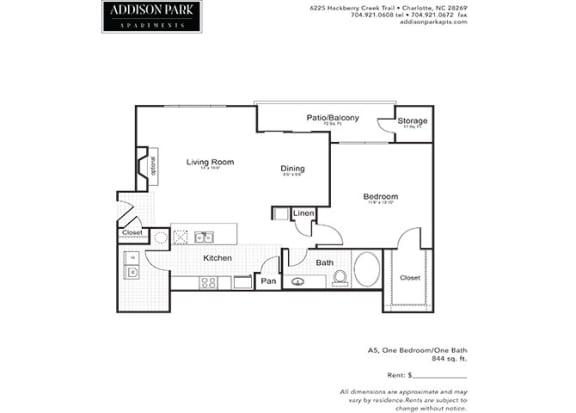 A5.1a 1 Bedroom 1 Bath Floor Plan at Addison Park, Charlotte, North Carolina