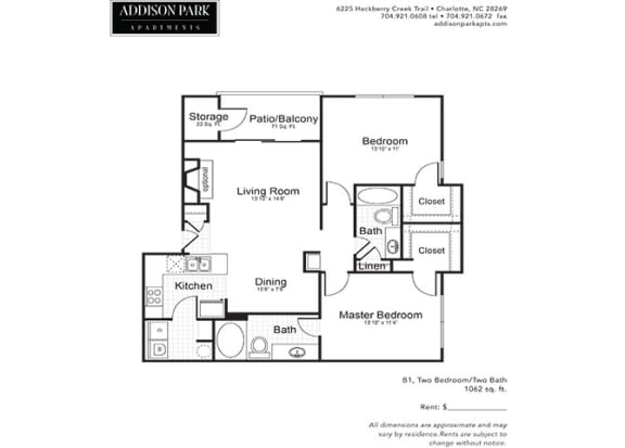 B1.2ar 2 Bed 2 Bath Floor Plan at Addison Park, Charlotte, North Carolina