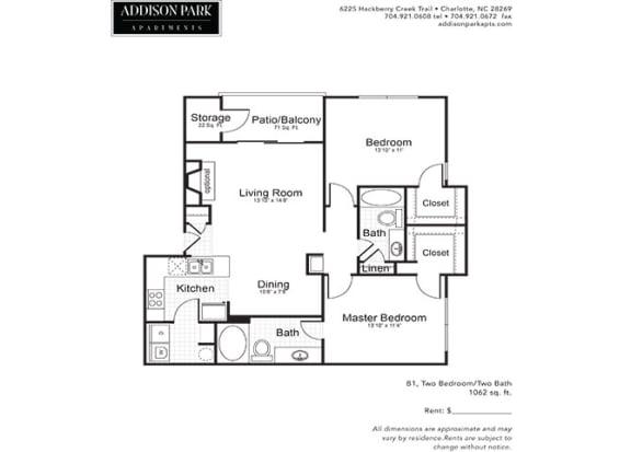 B1.2a 2 Bedroom 2 Bathroom Floor Plan at Addison Park, Charlotte, 28269