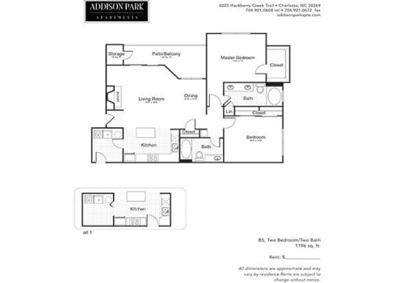 B5.2a 2 Bed 2 Bath Floor Plan at Addison Park, Charlotte