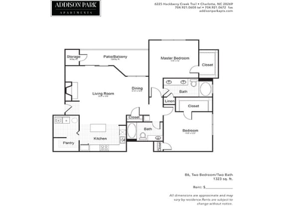 B6.2a 2 Bed 2 Bath Floor Plan at Addison Park, North Carolina, 28269