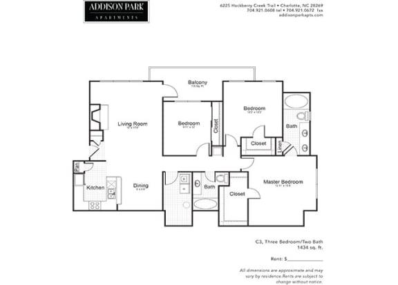 C3.3ar 3 Bedroom and 2 Bath Floor Plan at Addison Park, North Carolina, 28269
