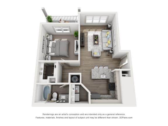 Floor Plan  1 Bedroom A 1 Bath Floor Plan at Sixes Ridge, Holly Springs