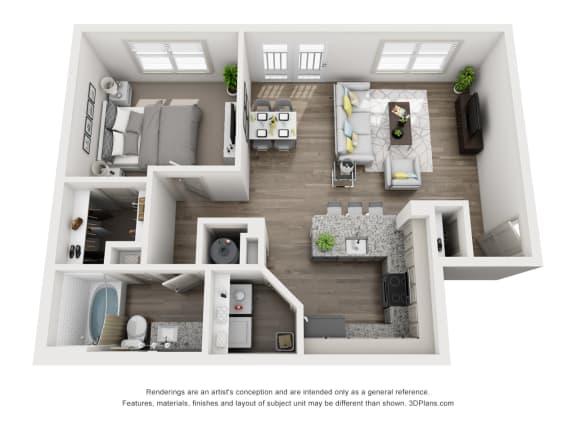 Floor Plan  1 Bedroom B 1 Bath Floor Plan at Sixes Ridge, Georgia