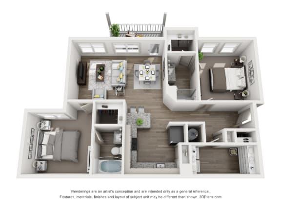 Floor Plan  2 Bedrooms and 2 Bathrooms Floor Plans at Sixes Ridge, Georgia, 30115