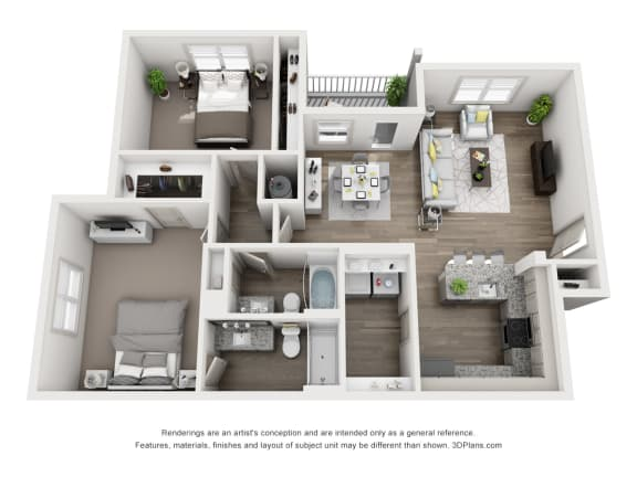 Floor Plan  2 Bedrooms A and 2 Bathrooms Floor Plans at Sixes Ridge, Holly Springs, GA, 30115