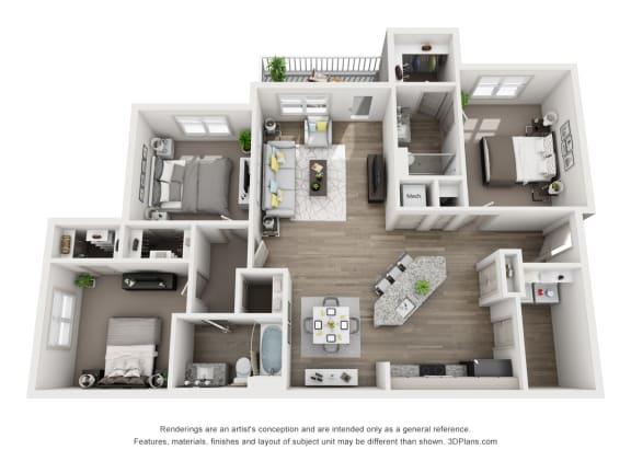 Floor Plan  3 Bedrooms and 2 Bathrooms Floor Plans at Sixes Ridge, Holly Springs, GA