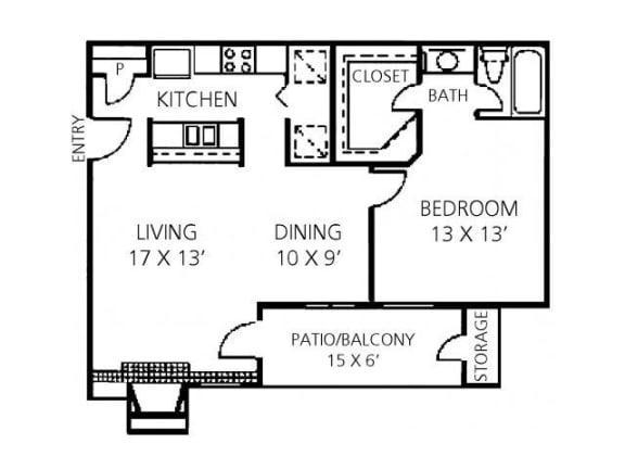 1x1 Large Floor Plan |Channing's Mark