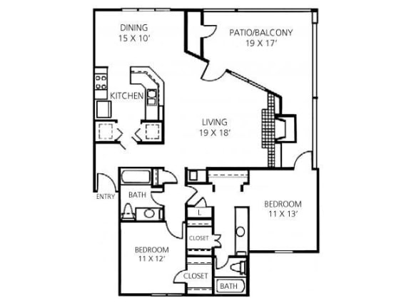 2x2 Floorplan |Channing's Mark