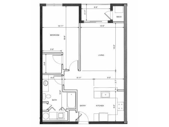 One Bed One Bath 1A Floor Plan |Endicott Green