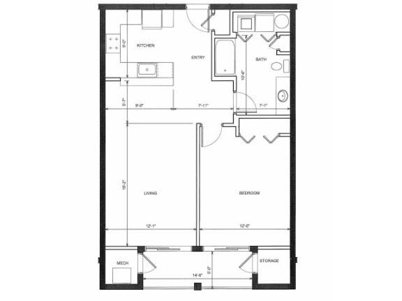 One Bed One Bath Floor Plan |Endicott Green