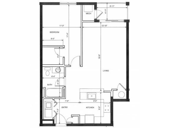 One bedroom One Bath 1C Floor Plan |Endicott Green