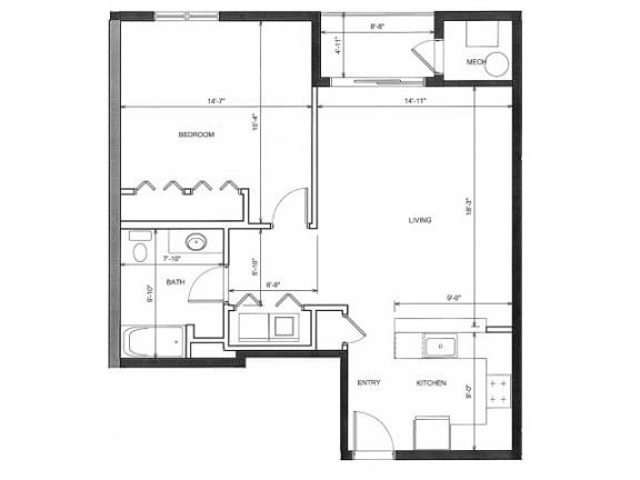 One bedroom One Bath 1E Floor Plan |Endicott Green
